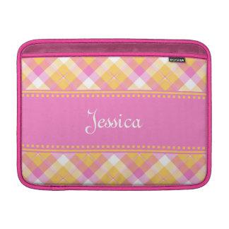 Yellow n Pink Plaid MacBook Air Sleeve 3