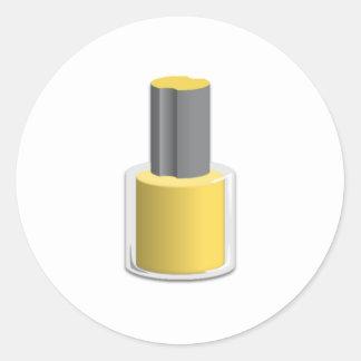Yellow Nail Polish Round Stickers