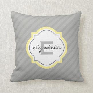 Yellow Name Monogram Quatrefoil & Gray Stripes Throw Pillow