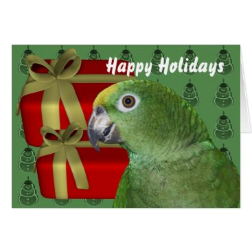 Christmas Themed Yellow Naped Amazon Parrot Christmas Holiday Card