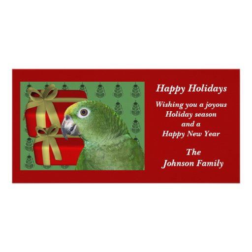 Yellow Naped Amazon Parrot Christmas Holiday Card Photo Card