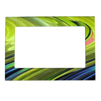 Yellow-Naped Amazon Parrot Feathers by STaylor Magnetic Picture Frame