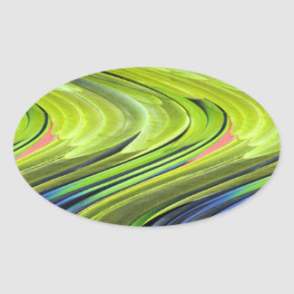 Yellow-Naped Amazon Parrot Feathers Oval Sticker