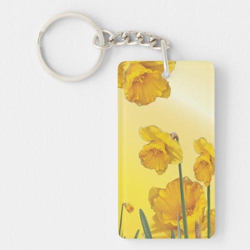Yellow Narcissus Daffodil Keychain