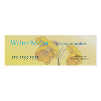 Yellow Narcissus Daffodil Retro Vintage Double-Sided Mini Business Cards (Pack Of 20)