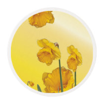 Yellow Narcissus Daffodil  Retro Vintage look Edible Frosting Rounds