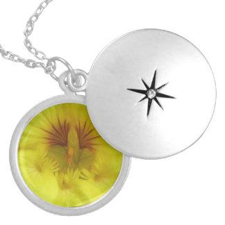 Yellow Nasturtiums Flower Round Locket Necklace