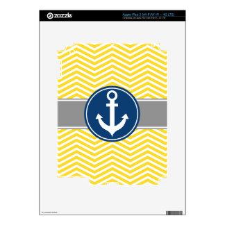 Yellow Nautical Anchor Chevron Decal For iPad 3