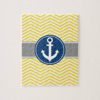 Yellow Nautical Anchor Chevron Jigsaw Puzzle