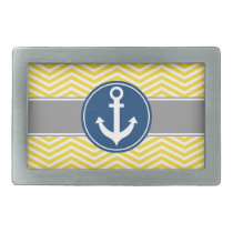 Yellow Nautical Anchor Chevron Rectangular Belt Buckle