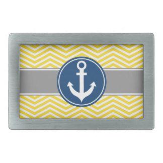 Yellow Nautical Anchor Chevron Rectangular Belt Buckle