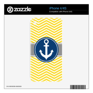 Yellow Nautical Anchor Chevron Skins For The iPhone 4S