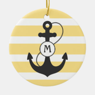Yellow Nautical Anchor Monogram Ceramic Ornament