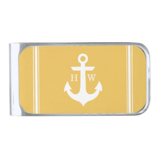 Yellow Nautical Anchor Monogram Silver Finish Money Clip