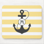 Yellow Nautical Anchor Mouse Pad
