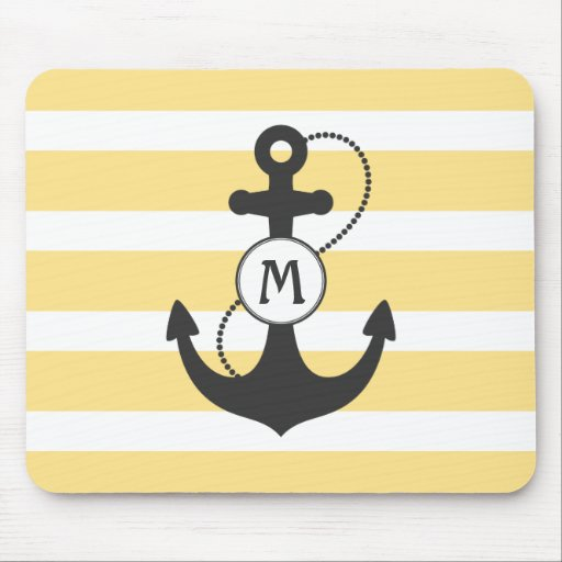 Yellow Nautical Anchor Mousepads