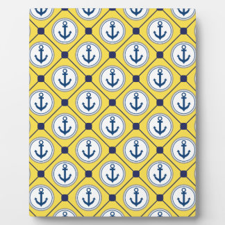 Yellow Nautical Anchor Pattern Plaque