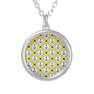 Yellow Nautical Anchor Pattern Round Pendant Necklace