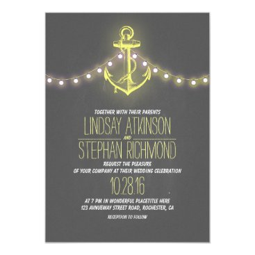 Beach Themed yellow nautical chalkboard anchor wedding card