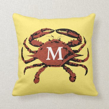 Beach Themed Yellow Nautical Crab Unique Monogram Throw Pillows