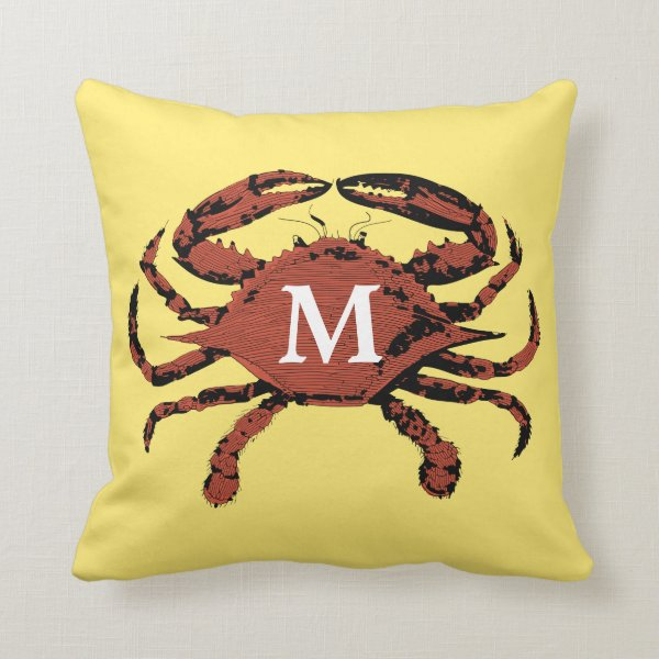 Yellow Nautical Crab Unique Monogram Throw Pillows