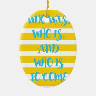 Yellow Nautical Striped Promise Ceramic Ornament