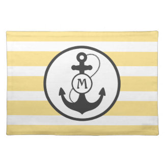 Yellow Nautical Stripes with Anchor and Monogram Cloth Placemat