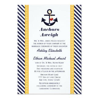 "Yellow Navy Anchor Nautical Wedding Invitations 5"" X 7"" Invitation Card"
