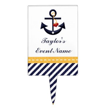 Beach Themed Yellow Navy Blue Anchor Nautical Cake Pick Topper