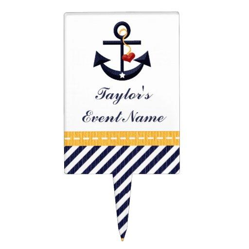 Yellow Navy Blue Anchor Nautical Cake Pick Topper