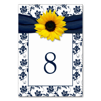 Yellow Navy Blue Damask Sunflower Ribbon Wedding Table Card