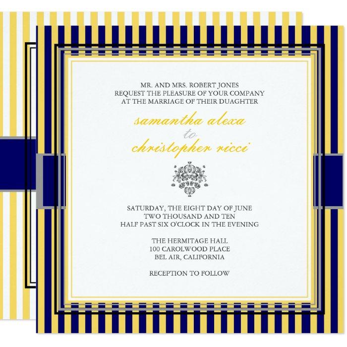 YELLOW+NAVY BLUE STRIPS WEDDING INVITATIONS