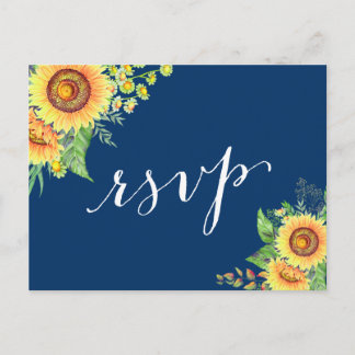 Yellow Navy Blue Sunflowers Rustic Wedding RSVP Invitation Postcard
