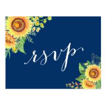 Yellow Navy Blue Sunflowers Rustic Wedding RSVP Postcard