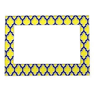 Yellow Navy Blue White Moroccan Quatrefoil #4DS Photo Frame Magnet