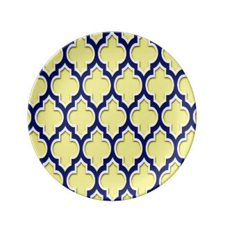 Yellow Navy Blue White Moroccan Quatrefoil #4DS Plate