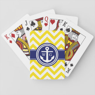 Yellow Navy Blue Wht LG Chevron Anchor Monogram Playing Cards