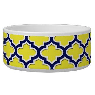 Yellow, Navy Blue, Wht Lg Moroccan Quatrefoil #3DS Bowl