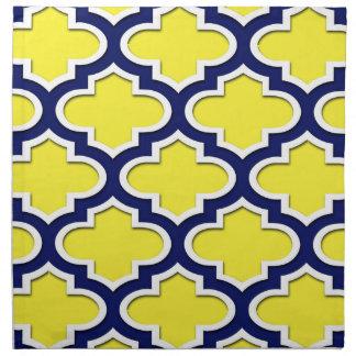 Yellow, Navy Blue, Wht Lg Moroccan Quatrefoil #3DS Printed Napkins