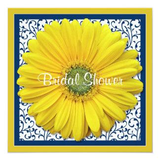 Yellow Navy Gerbera Daisy Bridal Shower Invitation