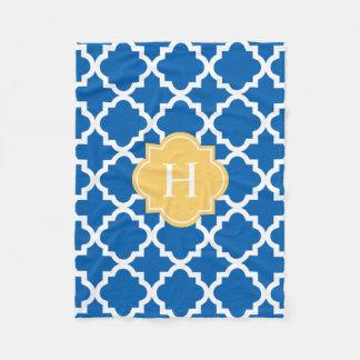 Yellow & Navy Monogram   Fleece Blanket