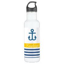 Yellow Navy Nautical Theme Water Bottle