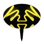 Yellow Neon 8 on a Black Field _ Urban ART Cake Topper