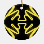 Yellow Neon 8 on a Black Field _ Urban ART Christmas Ornament