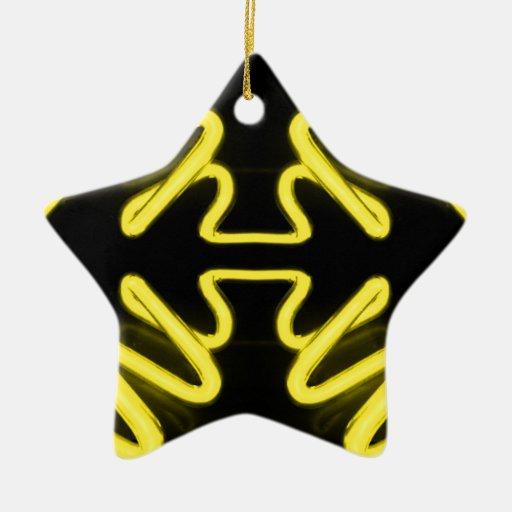Yellow Neon 8 on a Black Field _ Urban ART Ornaments