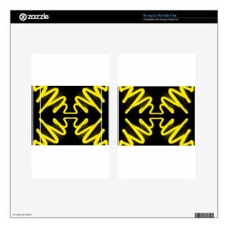 Yellow Neon 8 on a Black Field _ Urban ART Skin For Kindle Fire