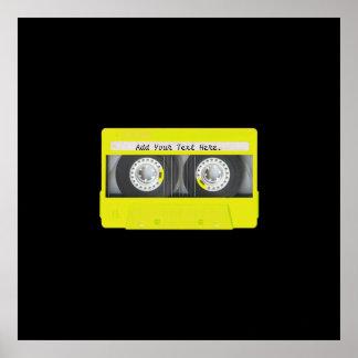 Yellow Neon Customizable Cassette Tape Poster
