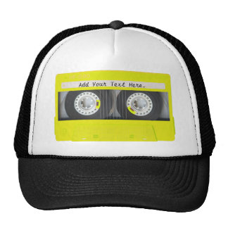 Yellow Neon Customizable Cassette Tape Trucker Hat