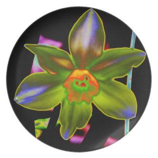 Yellow Neon Daffodil Melamine Plate