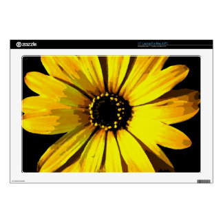 """Yellow Neon Daisy Decal For 17"""" Laptop"""